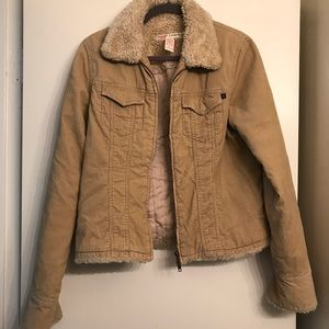 Abercrombie & Fitch Tan Corduroy Shearling Coat L